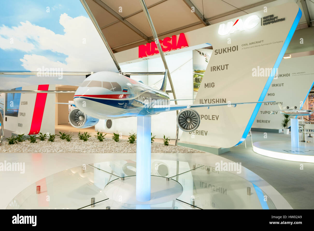 The United Aircraft Corporation (UAC) exhibition stand representing the Russian aviation industry at Farnborough - Stock Image