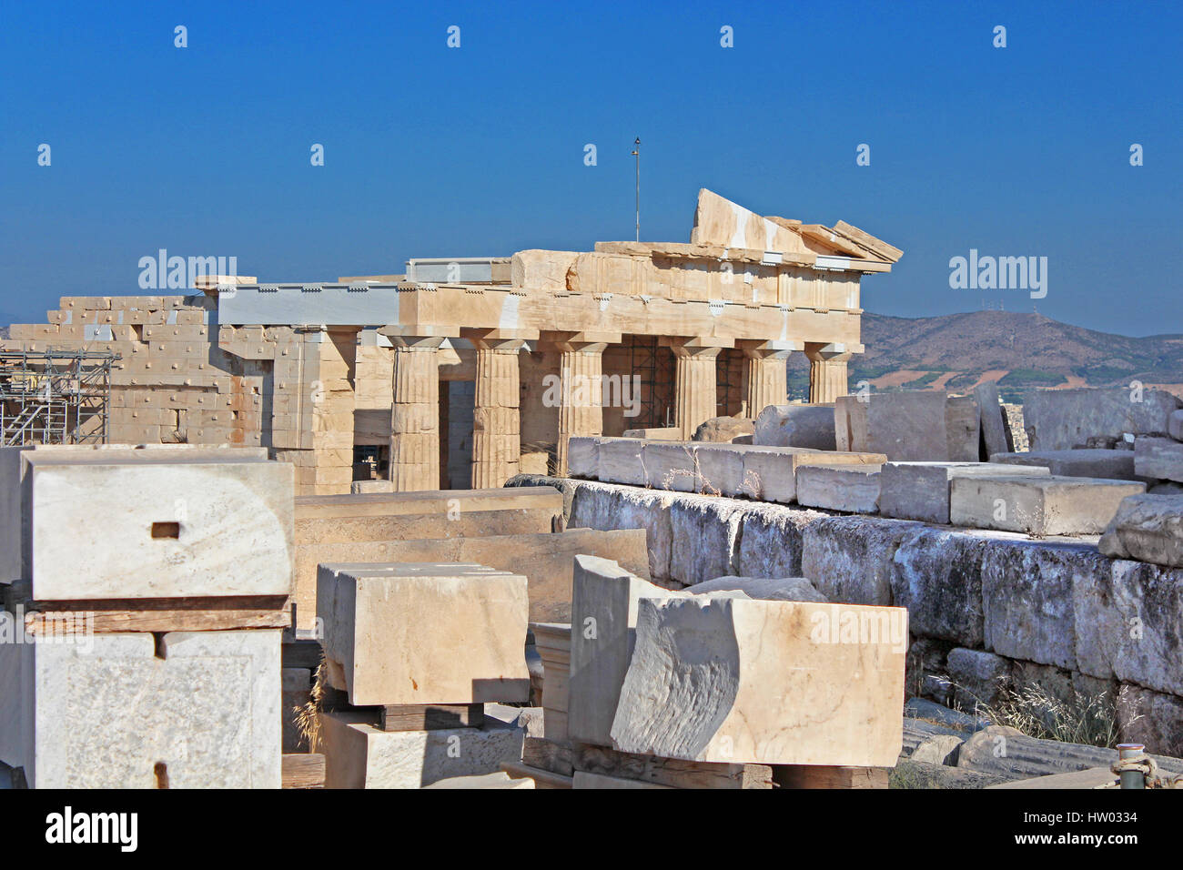 Propylaea is the monumental gateway to the Acropolis, the Propylaea was built under the general direction of the Stock Photo