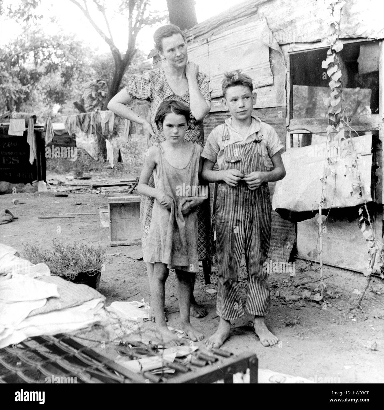 DOROTHY LANGE (1895-1965) American documentary photographer.  Her photo for the FSA of a poor Oklahoma family in - Stock Image