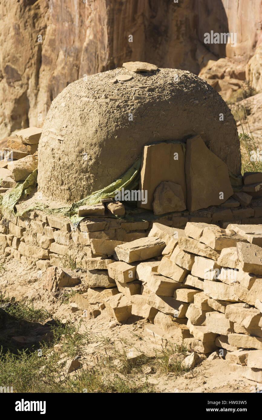 New Mexico, Acoma Pueblo, 13th c to present,  adobe oven - Stock Image