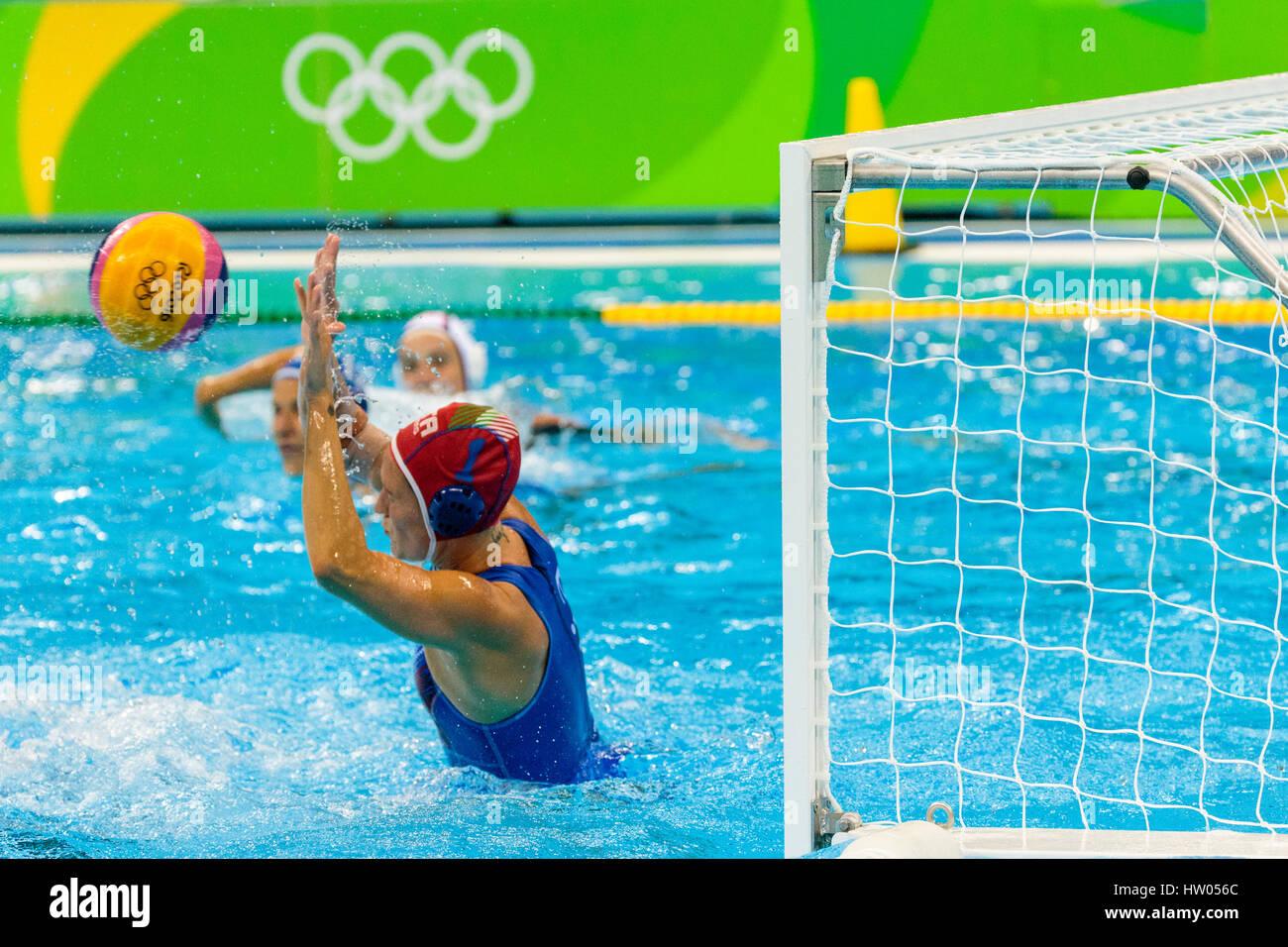 Rio de Janeiro, Brazil. 19 August 2016  Goalkeeper Giulia Gorlero (ITA) competes in the women's water polo gold - Stock Image