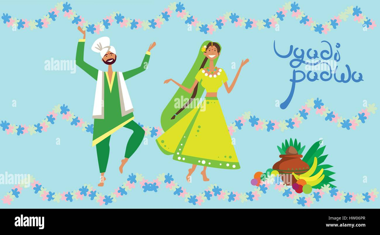 Couple Celebrating Happy Ugadi And Gudi Padwa Hindu New Year