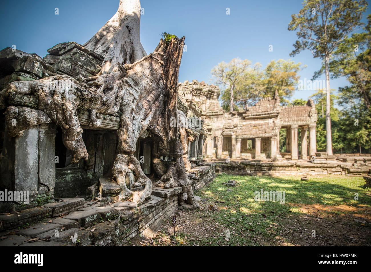 Ruins of ancient Angkor Wat in Cambodia - Stock Image