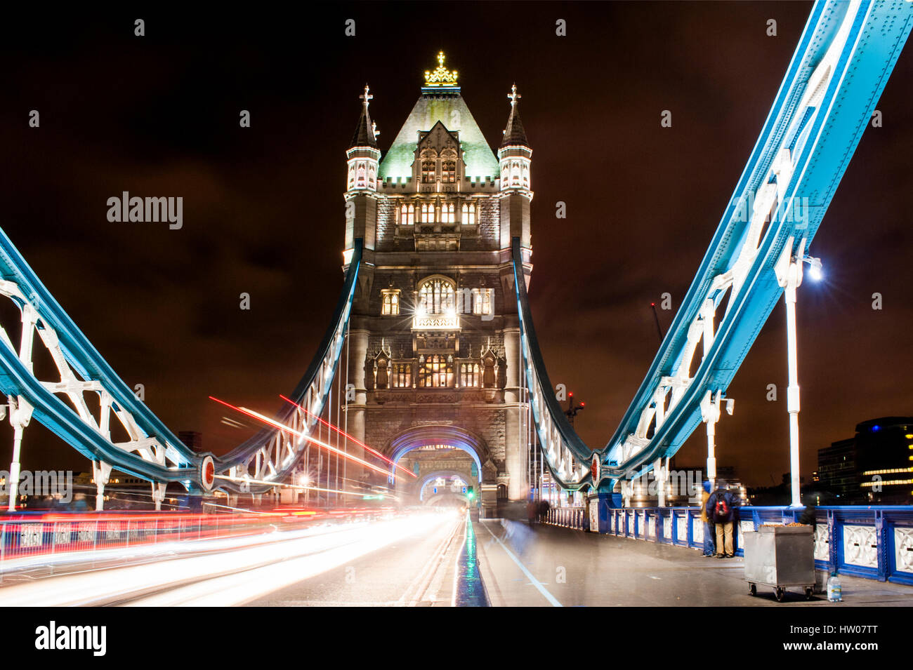 Tower Bridge of London at night - UK - Stock Image