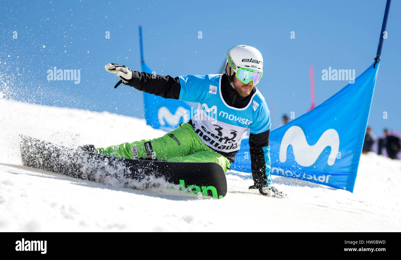 Sierra Nevada, Spain. 14th Mar, 2017. Jure Hafner (Slovenia) during the Men's Parallel Slalom of FIS World Snowboard - Stock Image