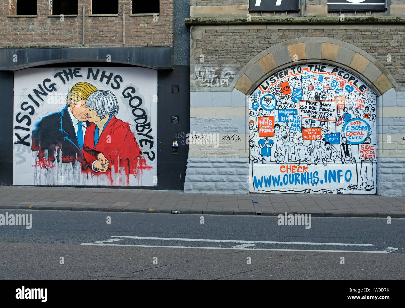 Bristol, UK. 15th March, 2017. New street art in the Stokes Croft area of the city highlights opposition to possible Stock Photo
