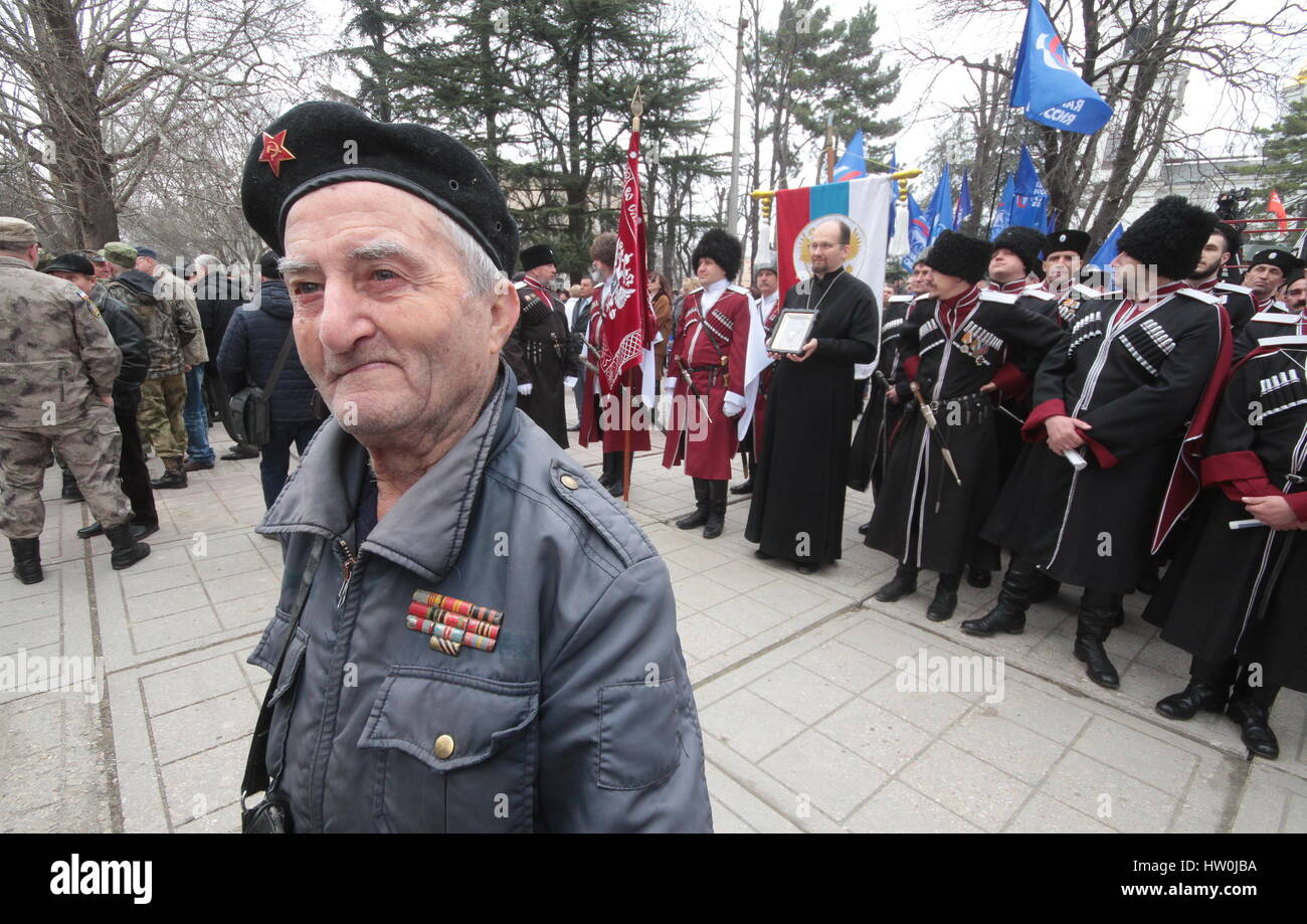 Simferopol, Russia. 16th Mar, 2017. An elderly war veteran during a celebration marking the 3rd anniversary of the - Stock Image