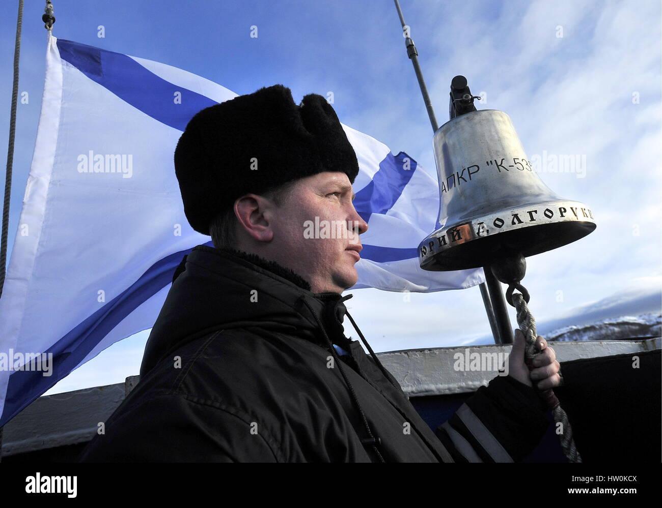 Murmansk Region, Russia. 16th Mar, 2017. A crew member of Russia's Yury Dolgoruky nuclear-powered ballistic - Stock Image