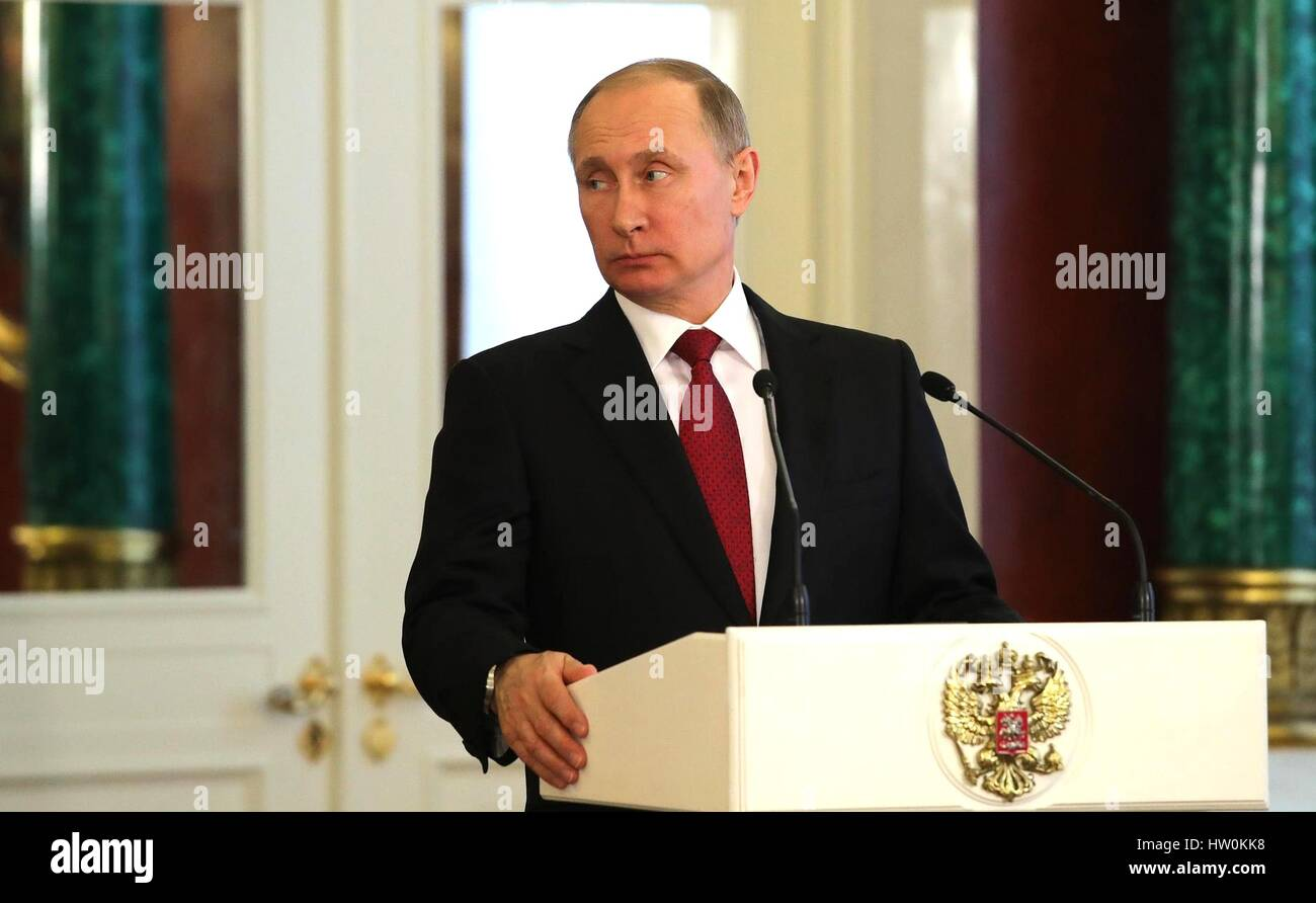 Moscow, Russia. 16th Mar, 2017. Russian President Vladimir Putin during a press conference with Armenian President - Stock Image