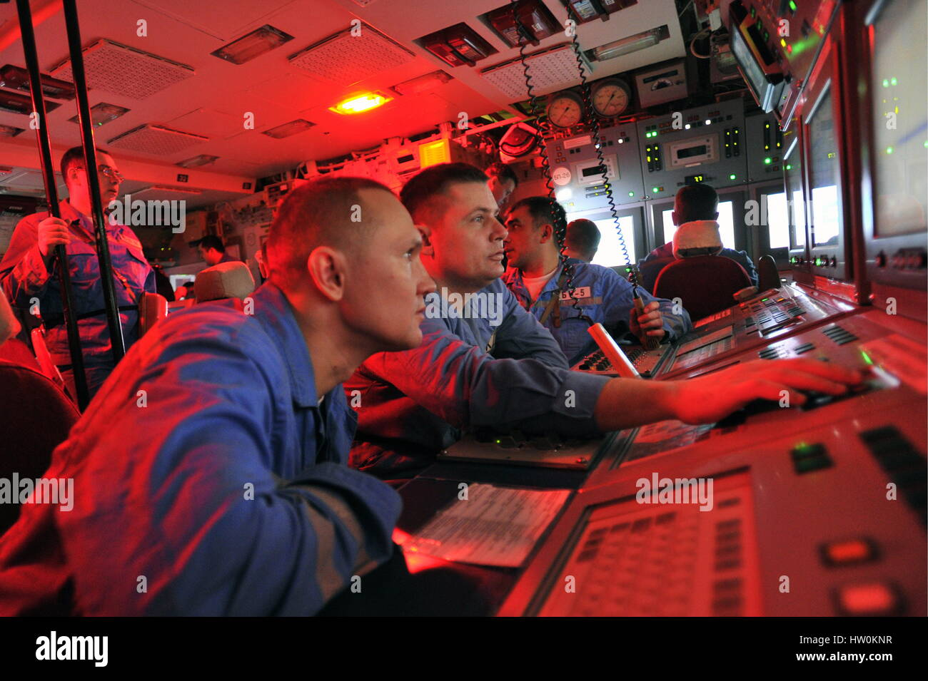 Murmansk Region, Russia. 16th Mar, 2017. Crew members at the central command post of Russia's Yury Dolgoruky - Stock Image