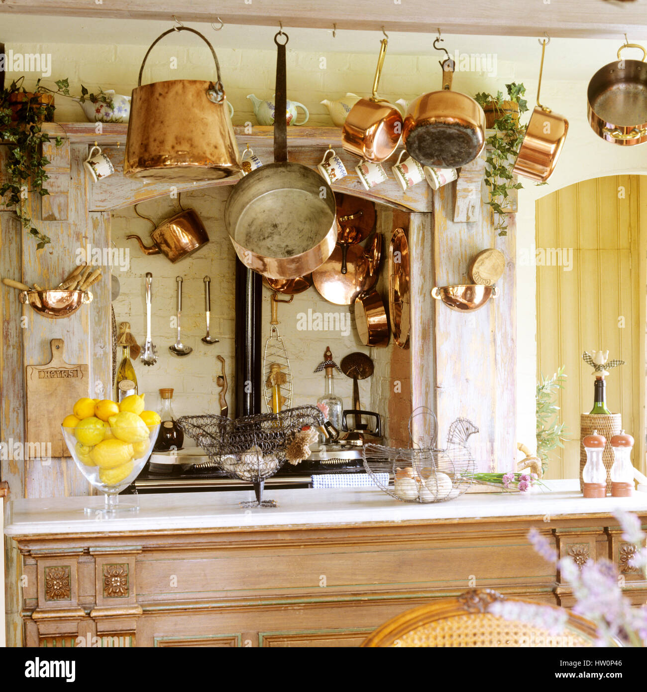 Wooden bench in rustic style kitchen. Stock Photo