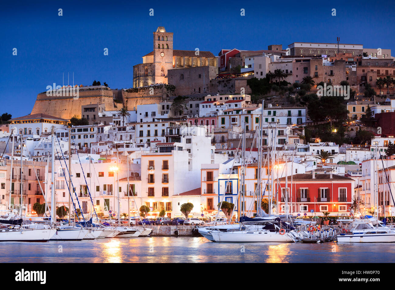 Ibiza Town harbour and old town, Ibiza, Balearic Islands, Spain - Stock Image