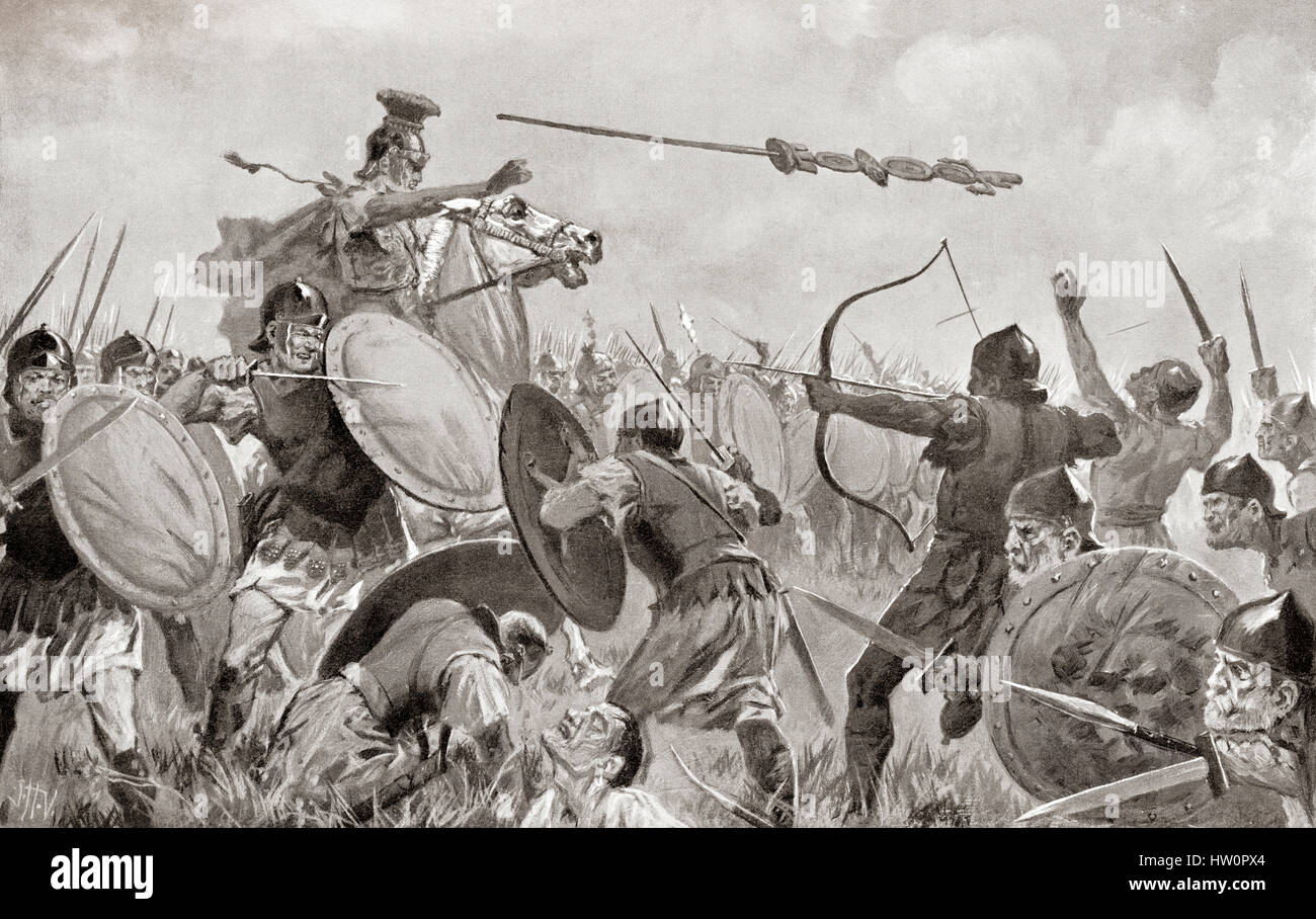 A battle between the Romans and the Volscians, c.5th century BC. A soldier is seen throwing a standard into the - Stock Image