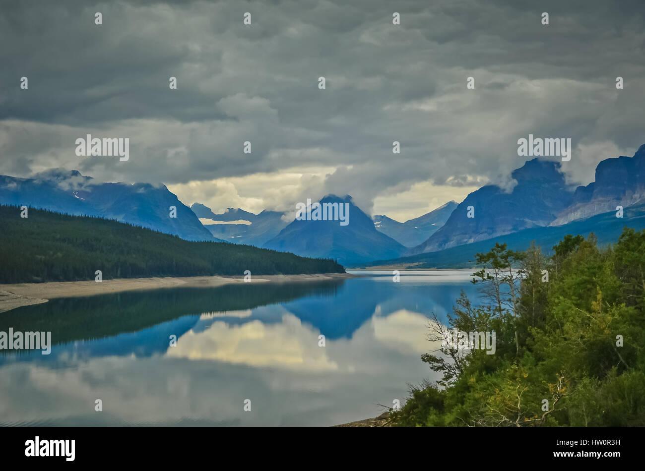 Swiftcurrent Lake & Many Glaciers Lodge in Glacier National Park, Montana, USA Stock Photo