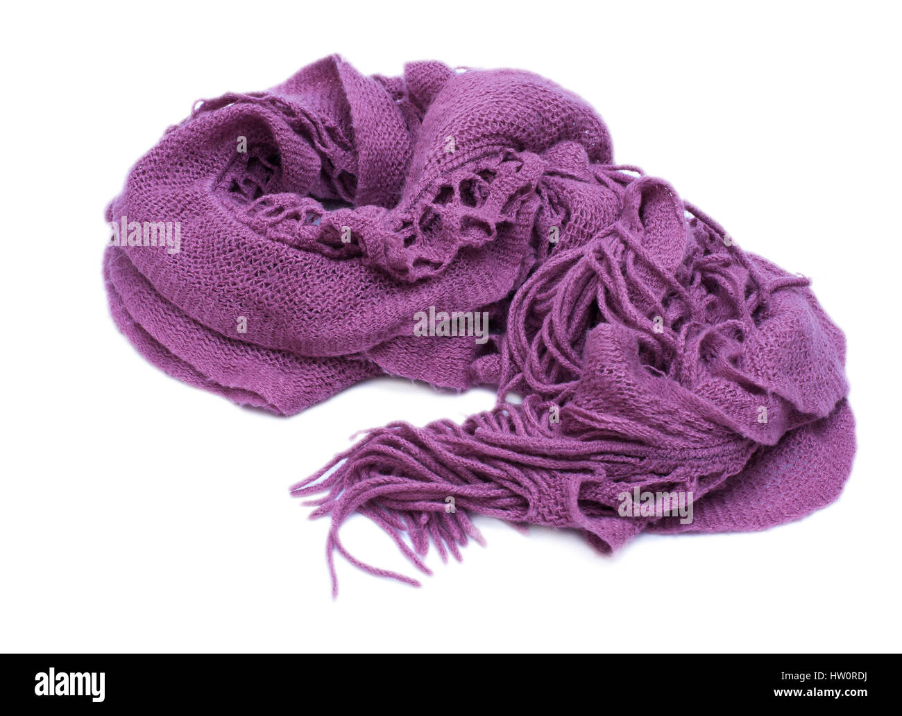 Violet knitted woolen scarf isolated on white background - Stock Image