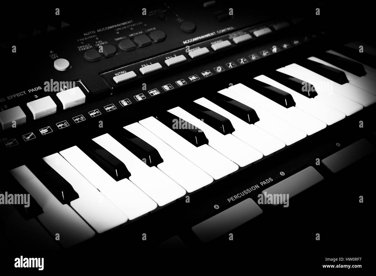 Musical keyboard of an old synthesizer with a monochrome toning - Stock Image