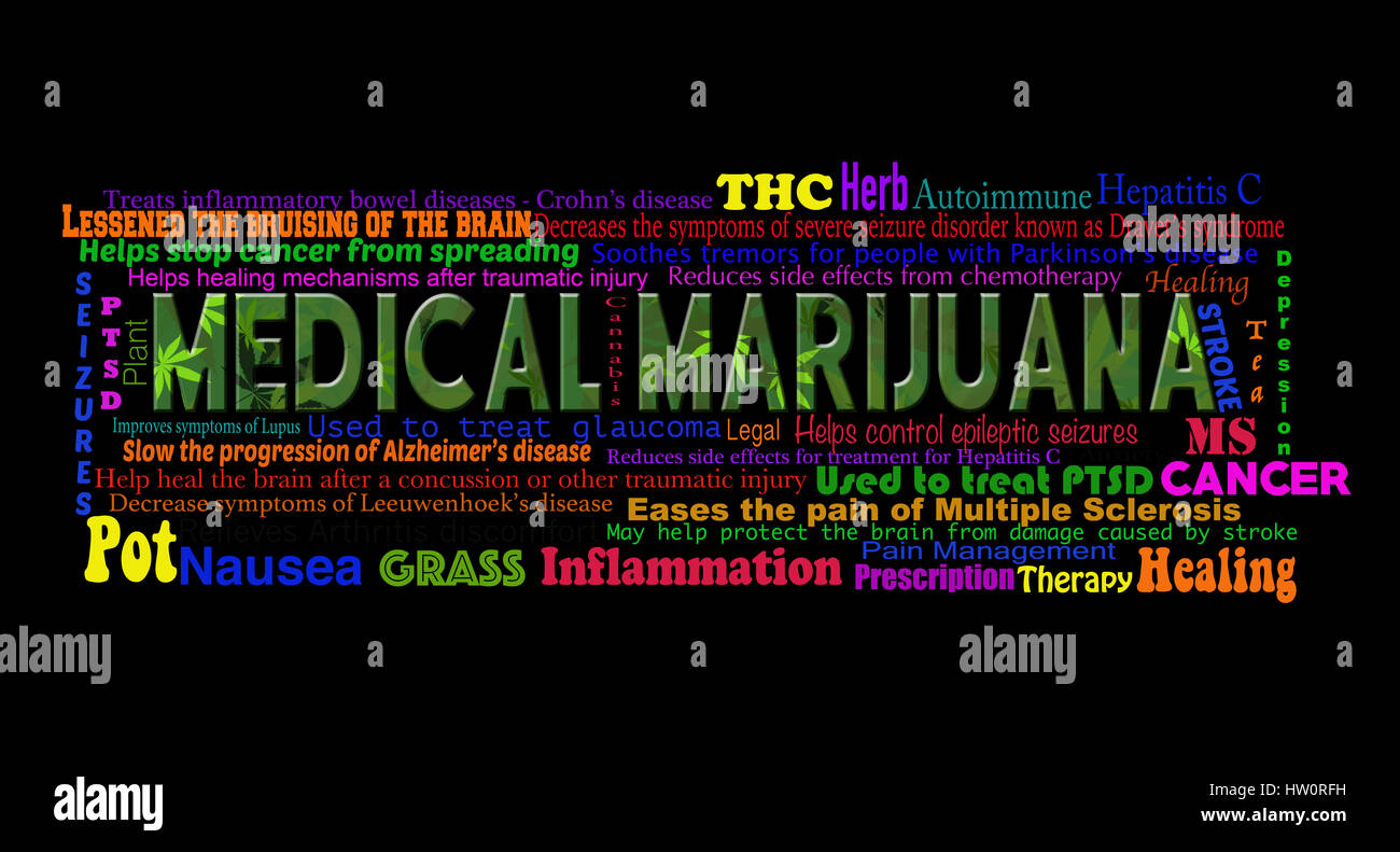 List of the benefits of the use of medical marijuana on a black background. - Stock Image