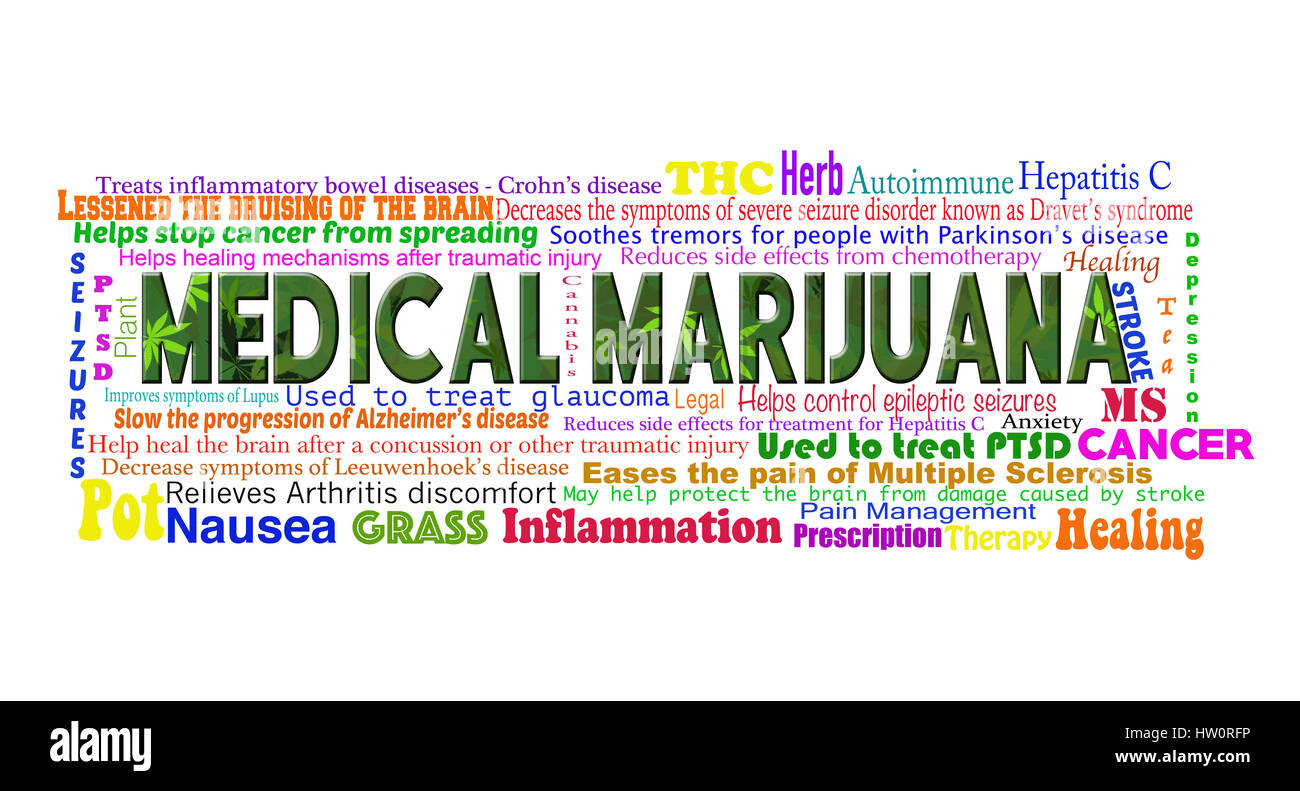 List of the benefits of the use of medical marijuana on a white background. - Stock Image