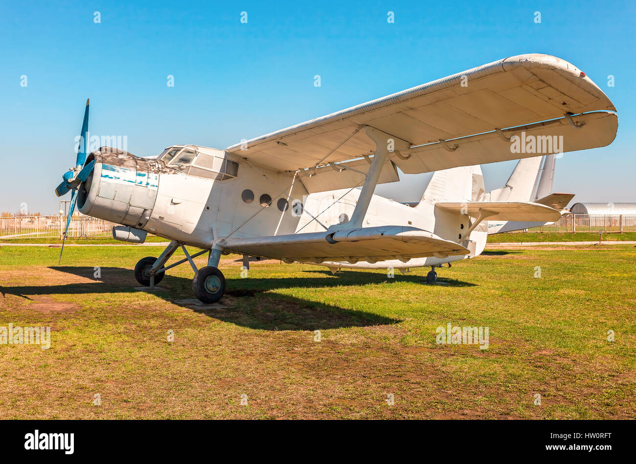TOGLIATTI, RUSSIA - MAY 3, 2013: The Antonov An-2 is a Soviet mass-produced single-engine biplane at an field aerodrome Stock Photo