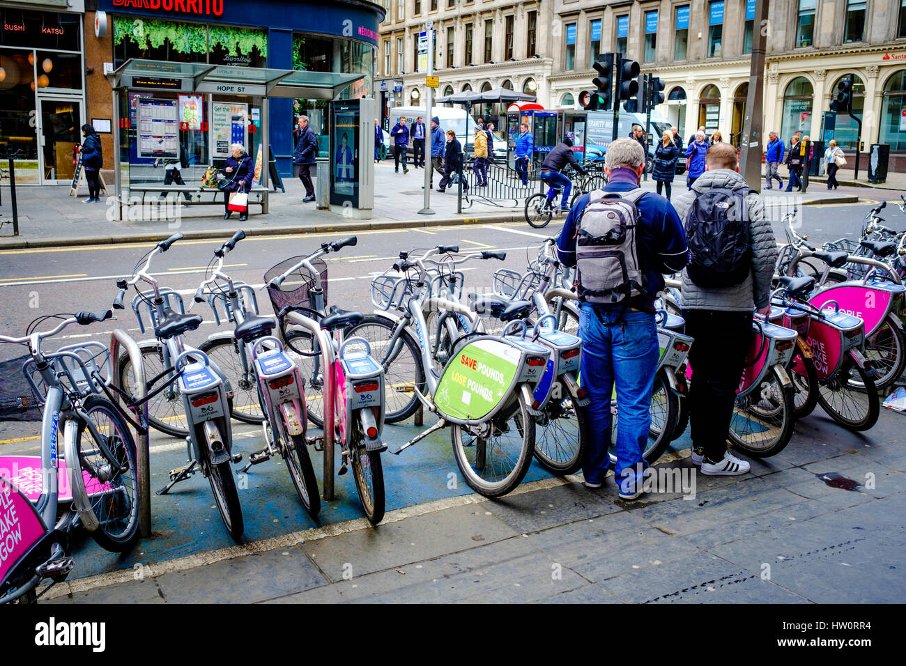 Hire bicycles in Glasgow City Centre - Stock Image
