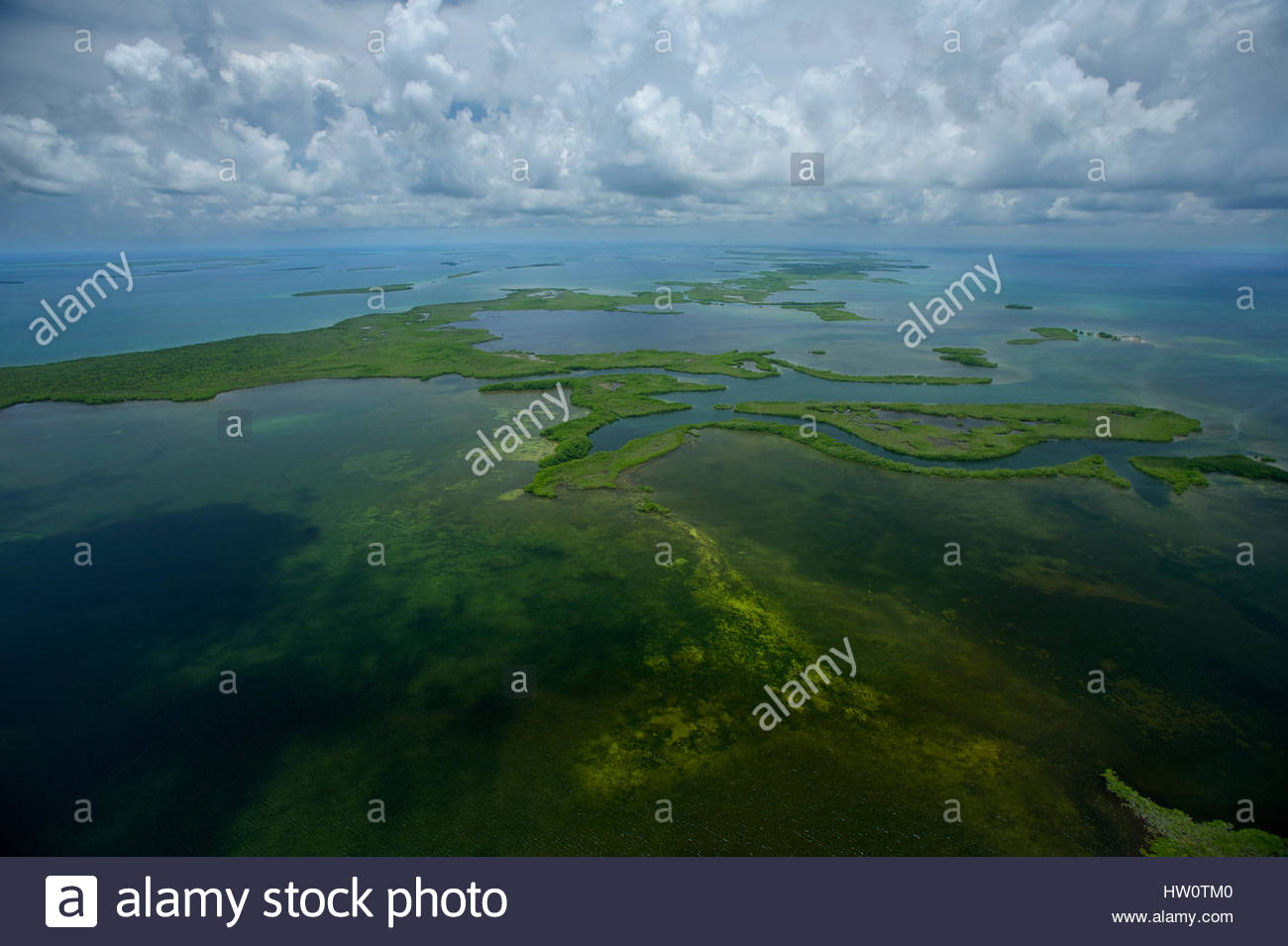 Turneffe Atoll, 30 miles long and 10 miles wide, is one of three atolls off Belize in the middle of the 160-mile - Stock Image