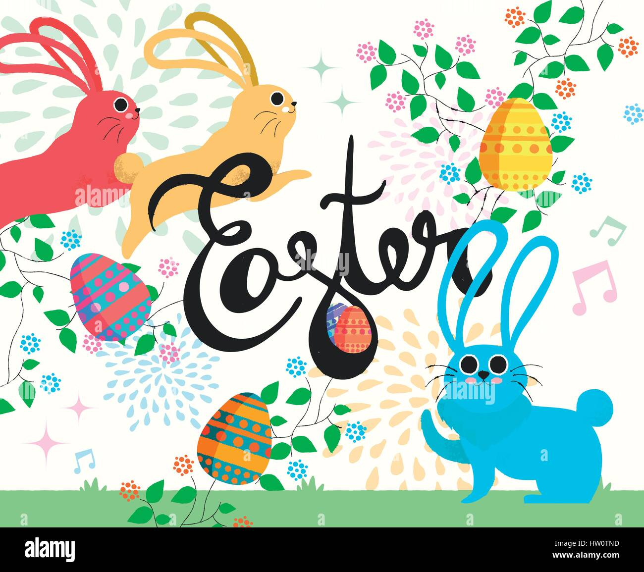 Easter Card Illustration Happy Cartoon Rabbits In Spring With Hand