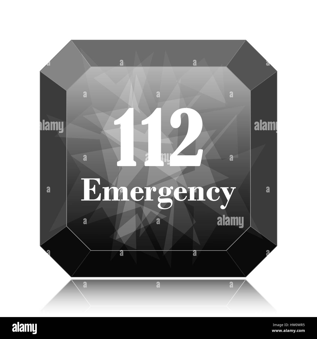 112 Emergency icon, black website button on white background. - Stock Image