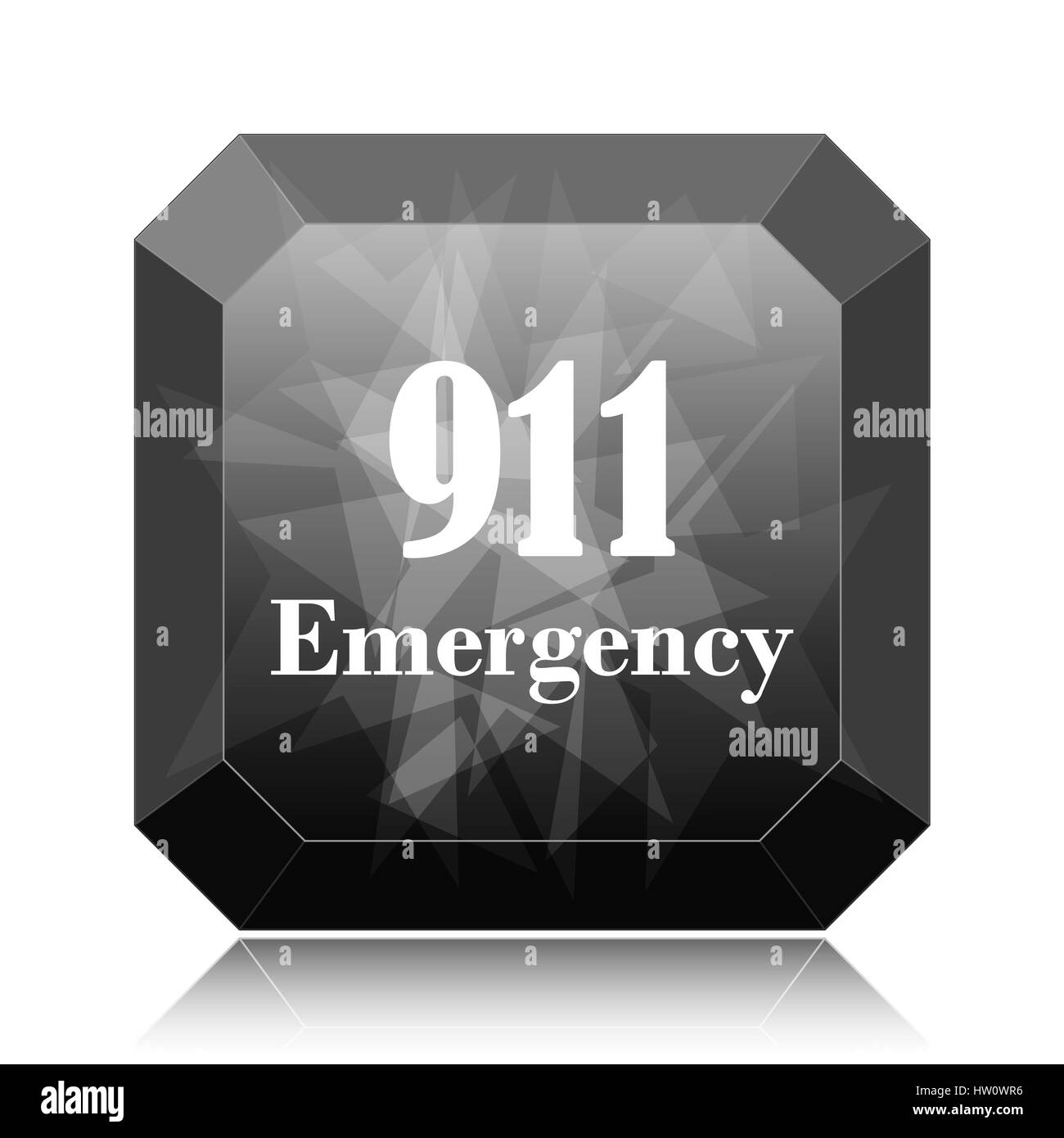 911 Emergency icon, black website button on white background. - Stock Image