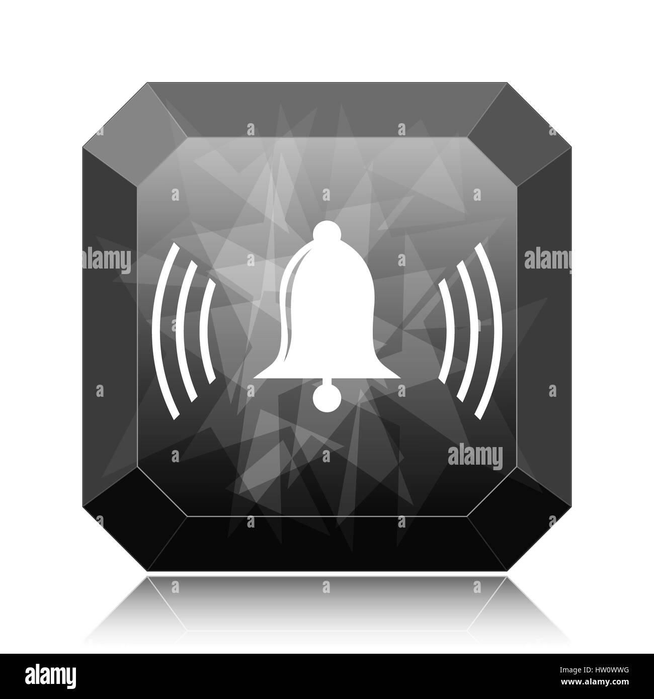 Bell icon, black website button on white background. - Stock Image