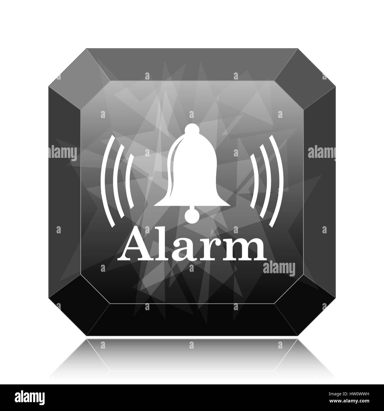 Alarm icon, black website button on white background. - Stock Image