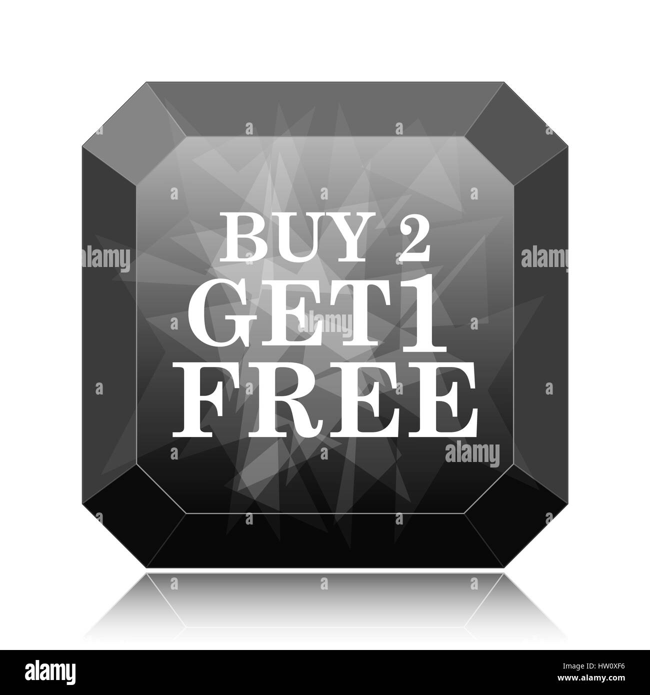 Buy 2 get 1 free offer icon, black website button on white Stock
