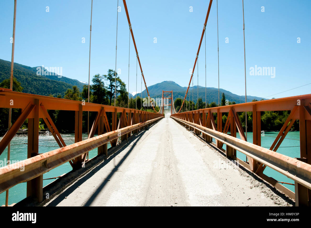 Exequiel Gonzales Bridge - Carretera Austral - Chile - Stock Image