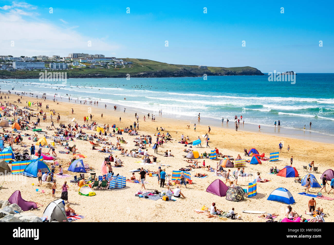 summertime at fistral beach in newquay, cornwall, england, UK. - Stock Image