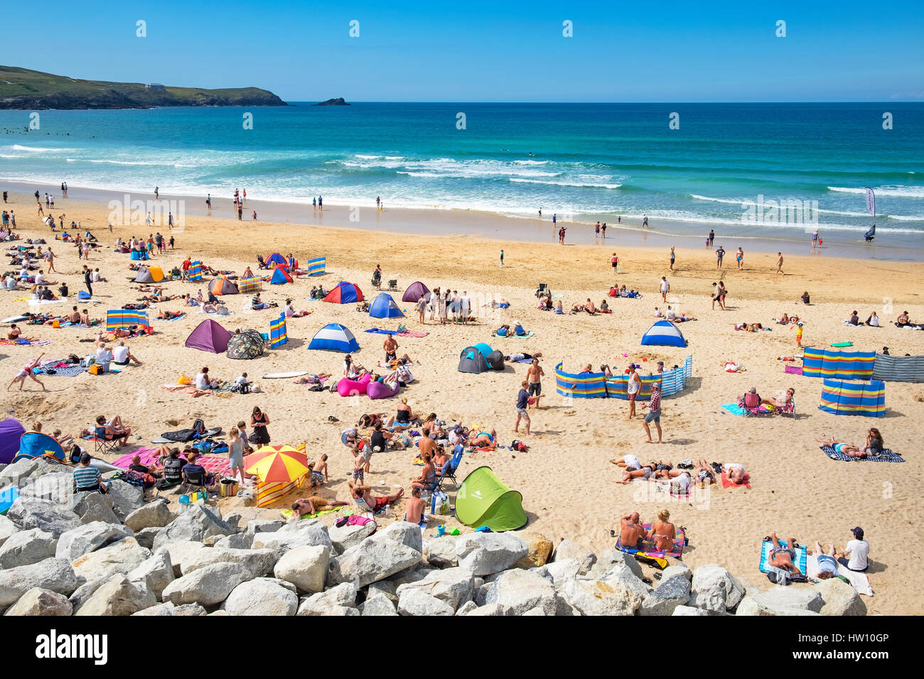 summertime at fistral beach in newquay, cornwall, england, uk, - Stock Image