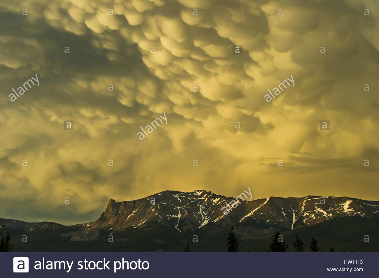 Thick bubble clouds gleam above a mountain. - Stock Image