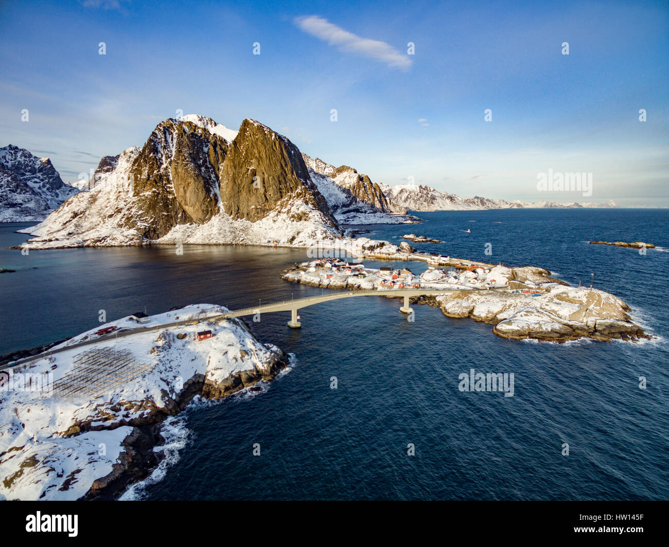 Hamnoy from above, Lofoten islands, Norway. Winter in a sunny day Stock Photo