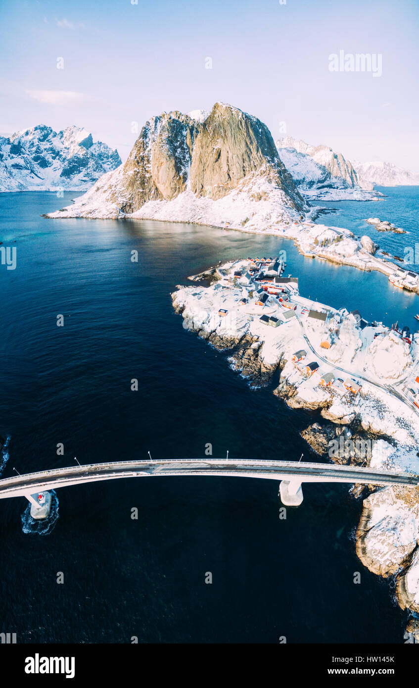 Hamnoy from above, Lofoten islands, Norway. Winter in a sunny day - Stock Image