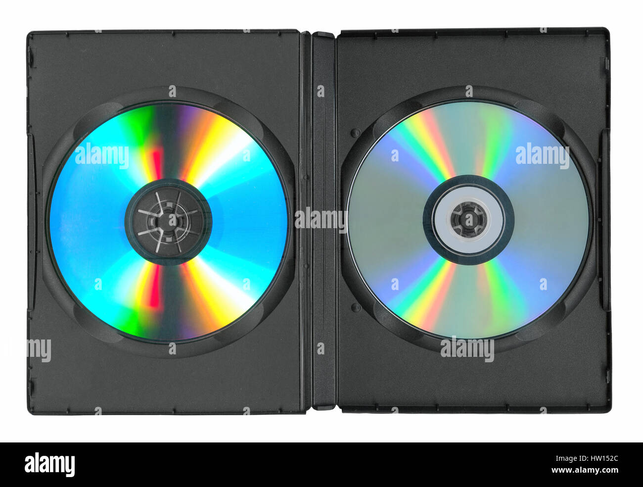 Disks in the case isolated on white Stock Photo