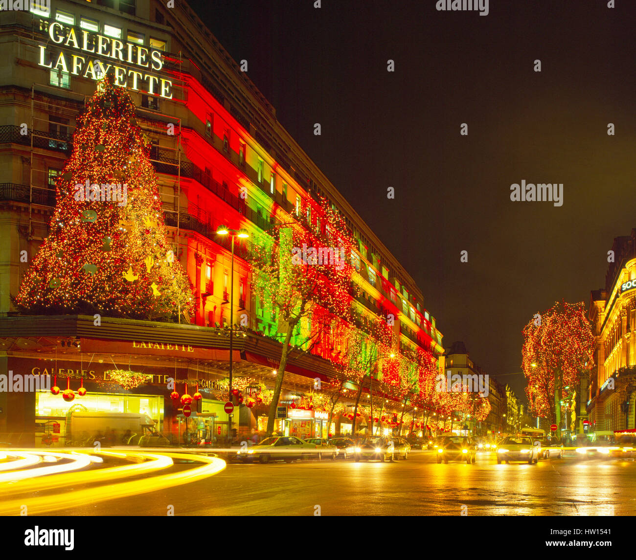 Galeris Lafayette and Boulevard Haussmann decorated for Christmas, Paris, France - Stock Image