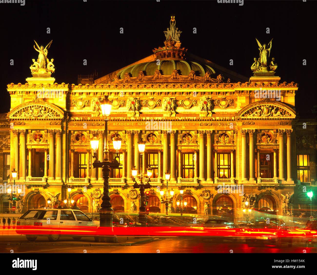 Opera Garnier at night, Paris, France - Stock Image