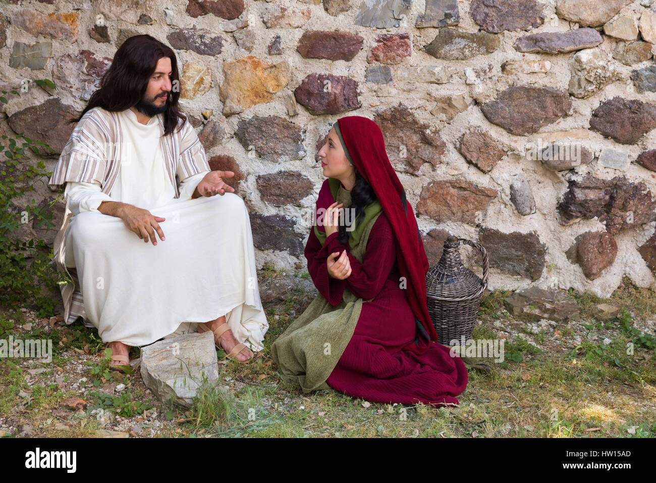 Repentant sinner woman asking for forgiveness and healing - Stock Image