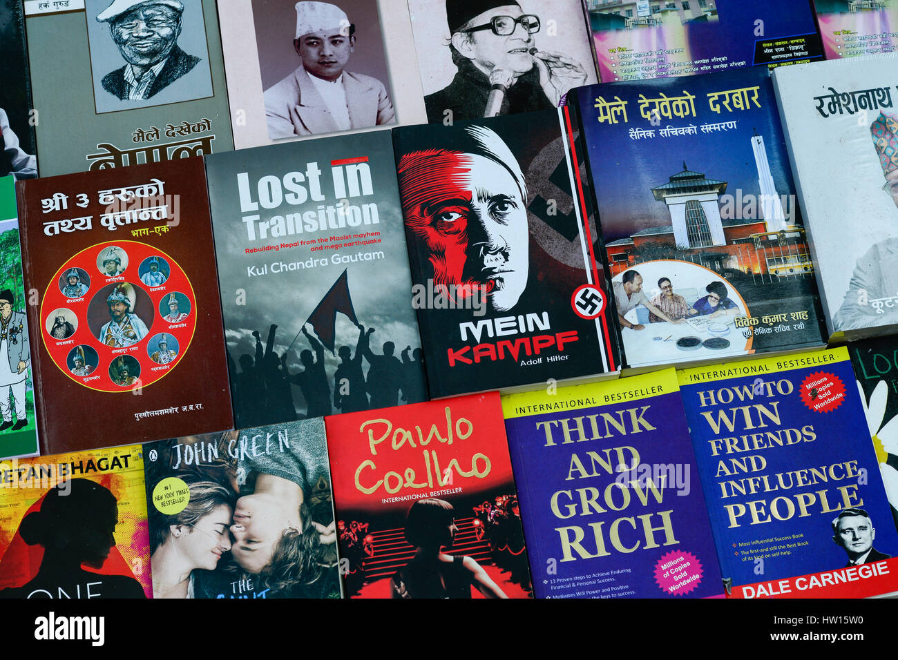 "NEPAL Kathmandu, book seller on street, selling Nazi book of Adolf Hitler ""Mein Kampf"" my struggle beside Paul Coelho, Stock Photo"