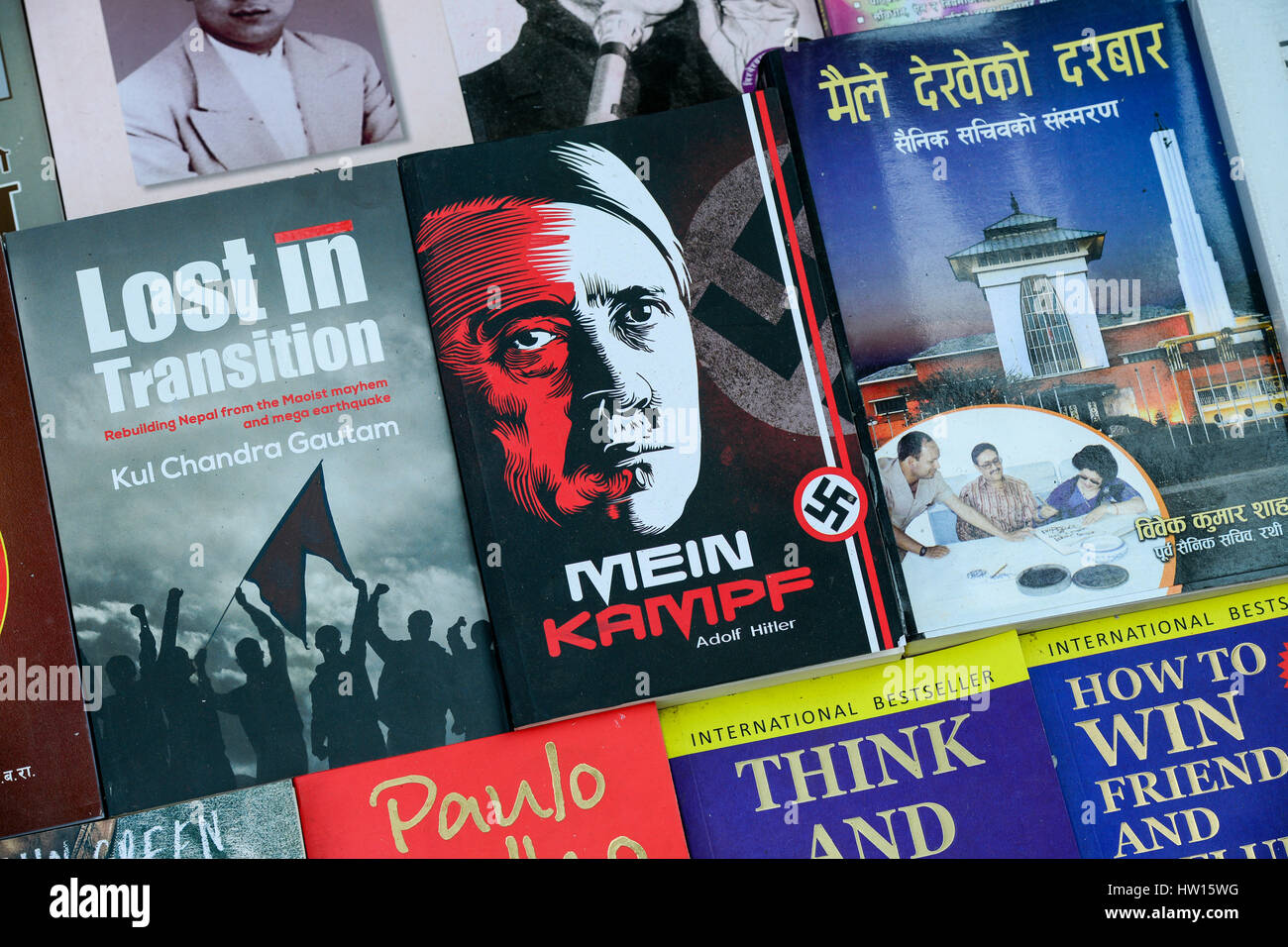 "NEPAL Kathmandu, book seller on street, selling Nazi book of Adolf Hitler ""Mein Kampf"" my struggle Stock Photo"