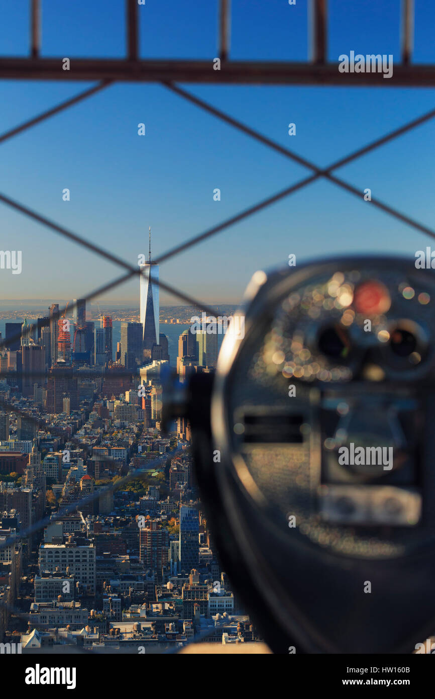 USA, New York, New York City, Manhattan, Empire State Building Observatory - Stock Image