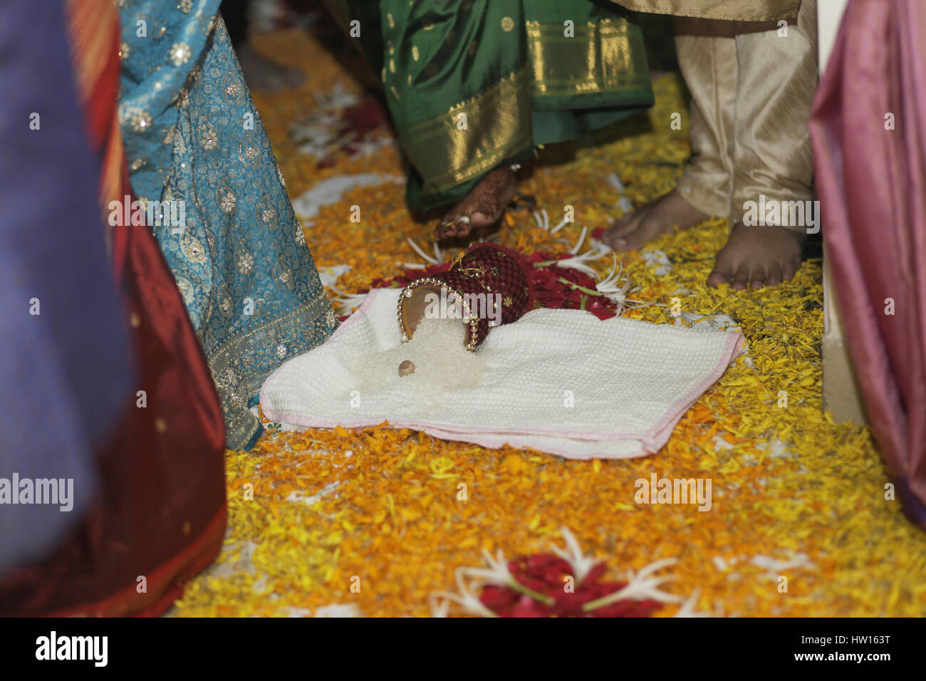 Griha Pravesh. First entry in the house during an auspicious date and time. House warming ceremony - Stock Image