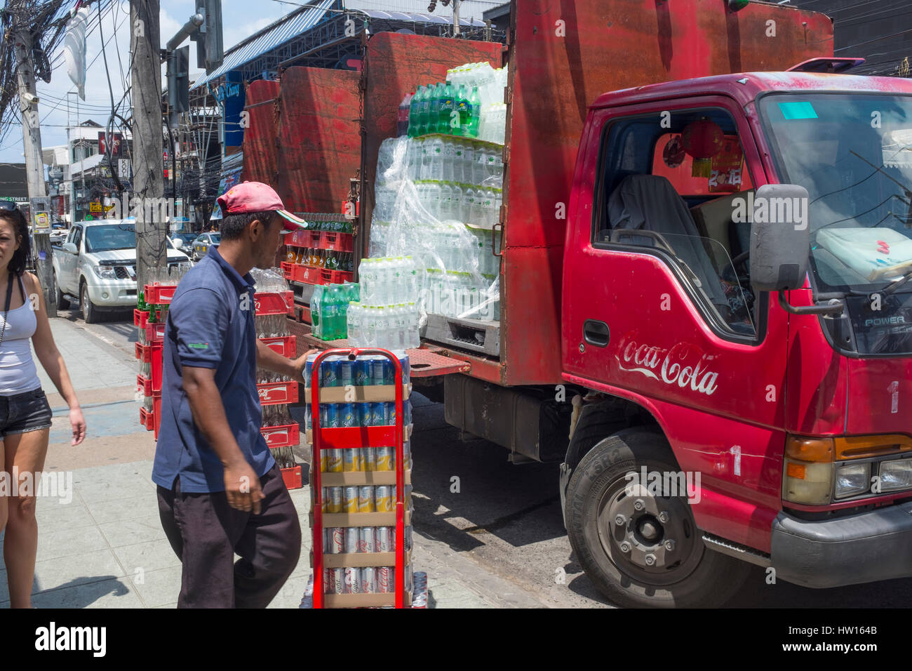 Coca Cola truck is unloading in Patong, Phuket, Thailand. 04-Mar-2017 - Stock Image