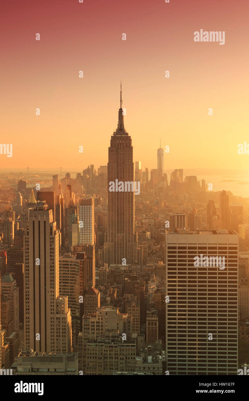 USA, New York, Manhattan, Top of the Rock Observatory, Midtown Manhattan and Empire State Building Stock Photo
