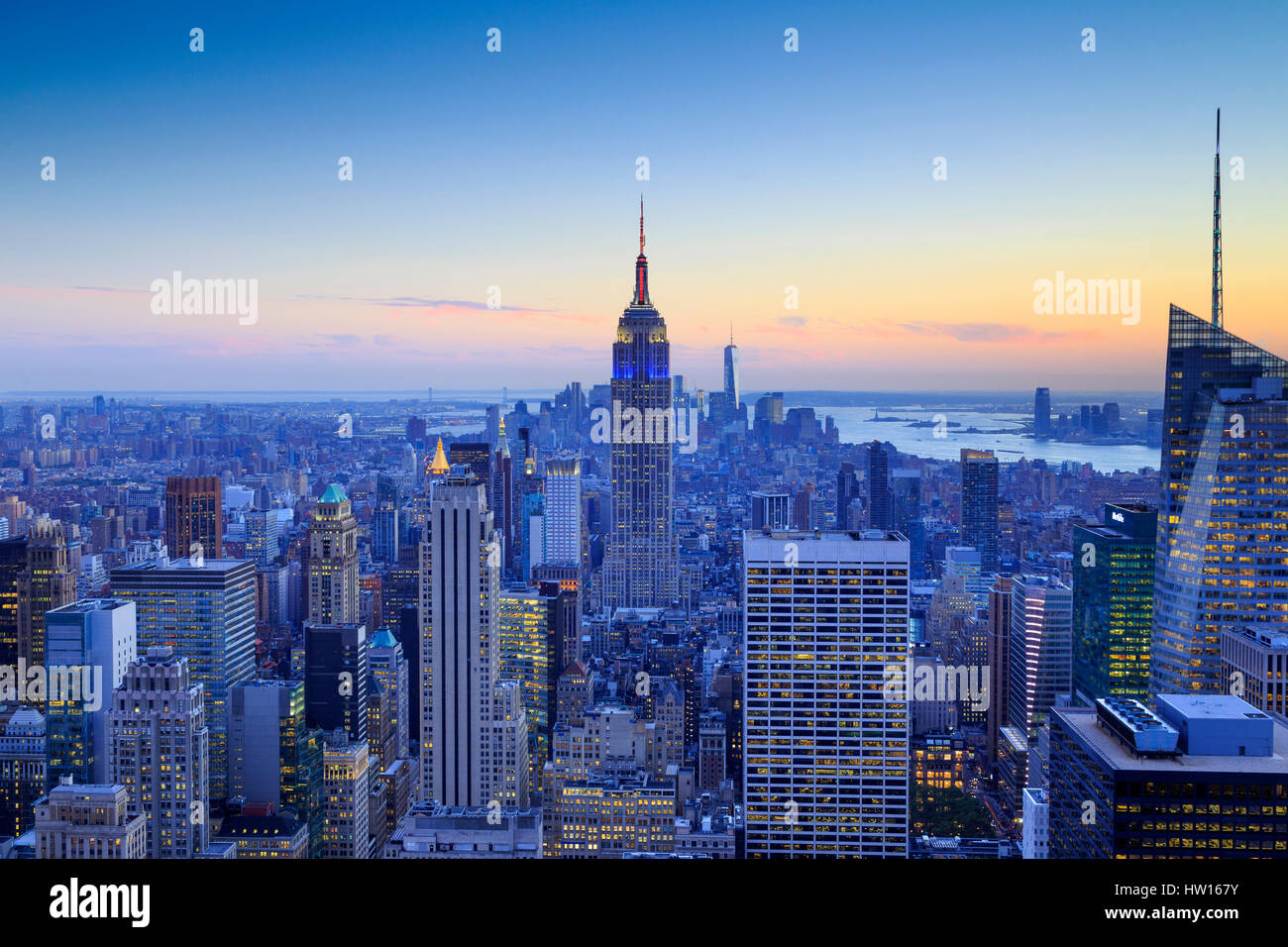USA, New York, Manhattan, Top of the Rock Observatory, Midtown Manhattan and Empire State Building - Stock Image