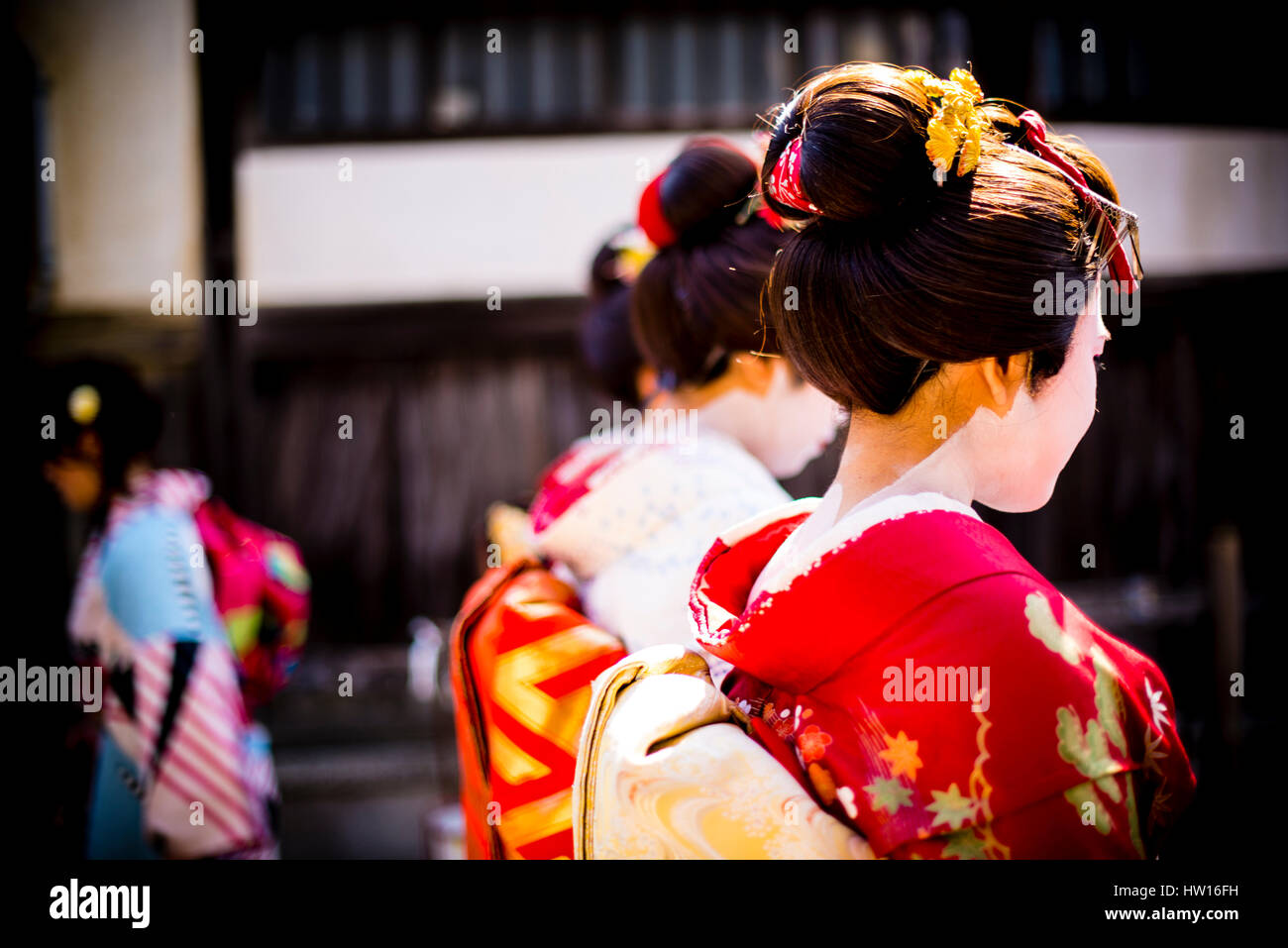 geisha on street of Kyoto Japan - Stock Image