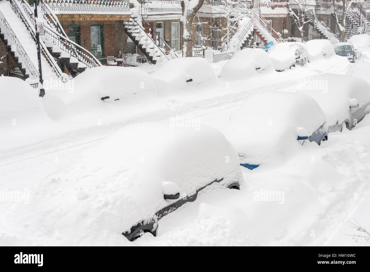 Montreal, CA - 15 March 2017: Powerful snow storm Stella pounds Montreal and leaves up to 60cm of snow. - Stock Image